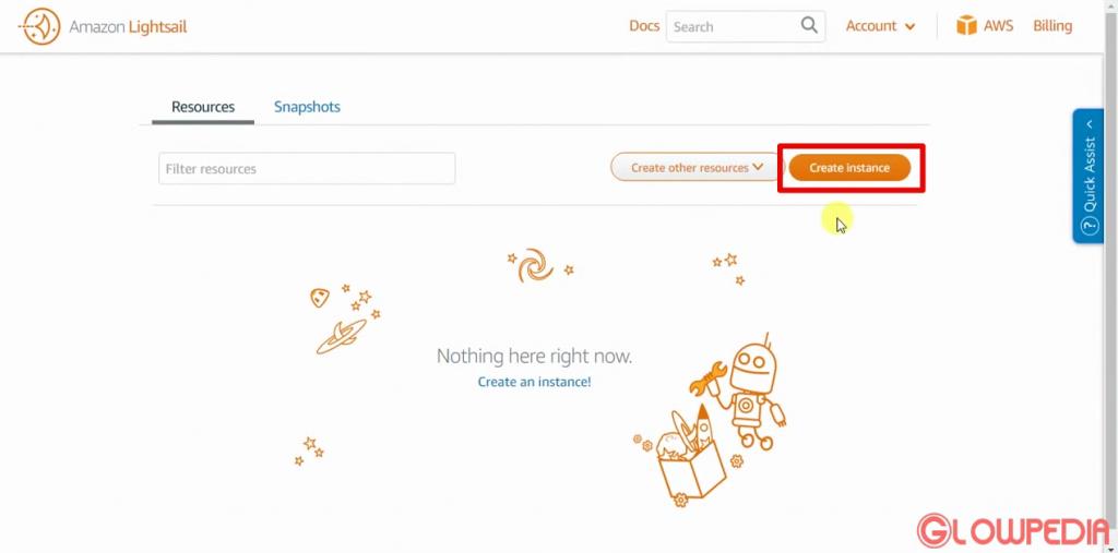 amazon lightsail create instance