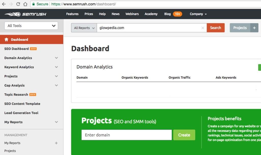 semrush website analysis tool